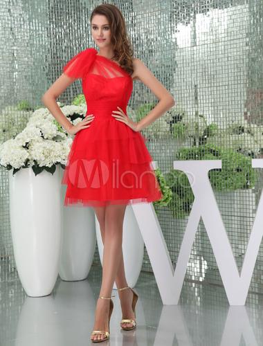 Rojo Vestido Un Hombro Pliegues De Tul Vestido De Cóctel Corto De Baile Vestido Milanoo
