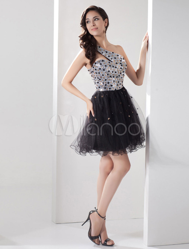 ccbf6a9ea08 ... Sequin Homecoming Dress One-Shoulder Beading A-Line Tulle Short Prom  Dress Keyhole Backless ...