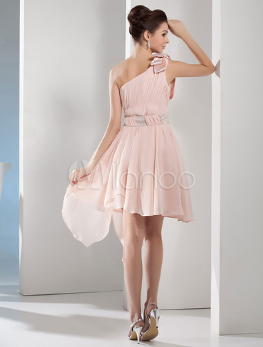 be3d09b436d3 ... One-Shoulder Homecoming Dress Pleated Beading A-Line Asymmetric Chiffon  Cocktail Dress Mini Prom ...