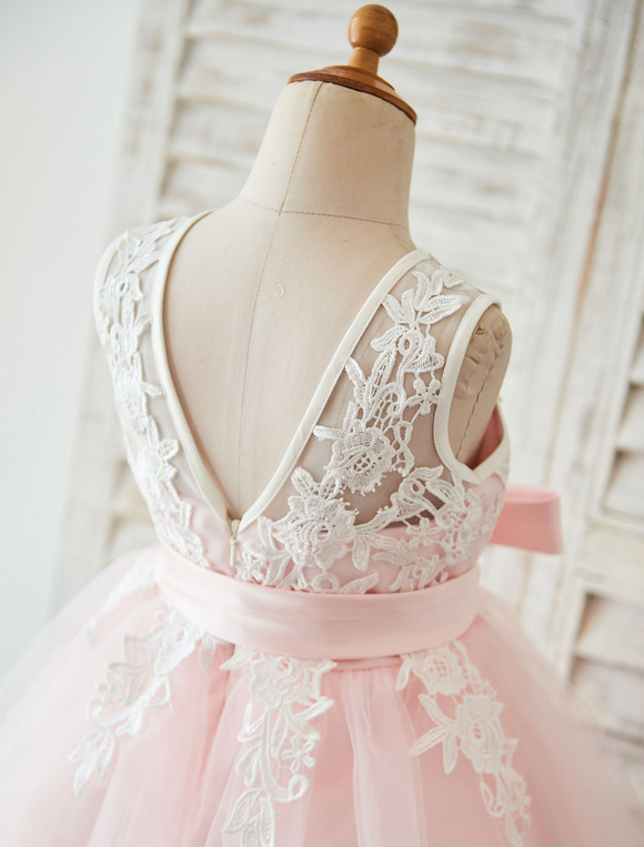d68cbaf7fd80b ... Robe De Fille De Fleur 2019Dentelle Blush Tutu Rose Pageant Robe  Toddlers Ruban Sash Illusion Enfants ...