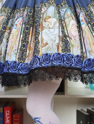 Gothic Lolita Dress Vintage Blue Printed Milanoo Lolita Skirt With Black Lace Trim
