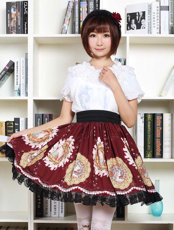Gothic Lolita Dress Vintage Burgundy Printed Milanoo Lolita Skirt With Black Lace Trim