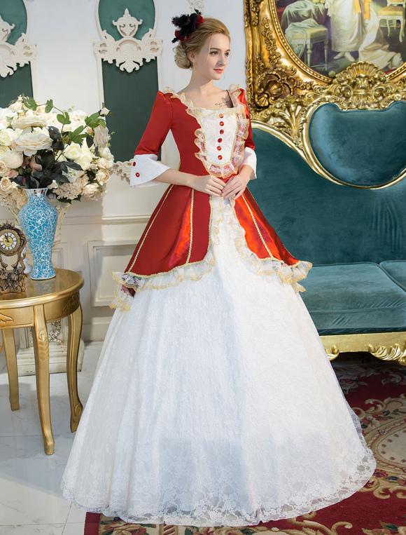 Red Retro Costume Rococo Lace Squared Neckline Bell Sleeve Button ...