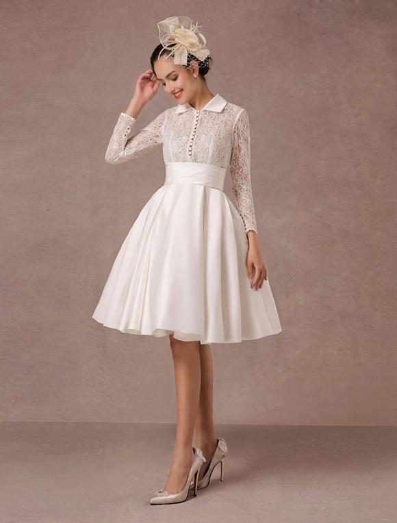 39cd60cbdc7a2 Vintage Wedding Dress Long Lace Sleeves Satin Bridal Gown Short Knee Length  Summer Wedding Dresses 2019 Milanoo