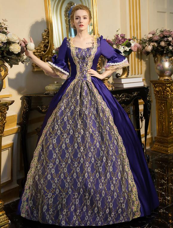 Retro Tunica Pizzo Donna Costume Vestito Up Ricamato Barocco Lace vm8wn0NO