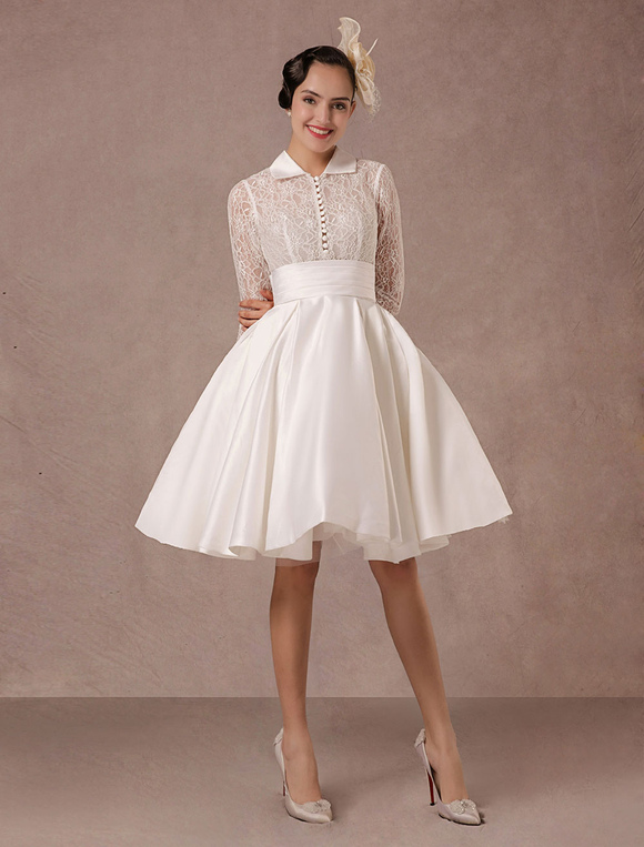 Vintage Wedding Dress Long Lace Sleeves Satin Bridal Gown Short Knee ...