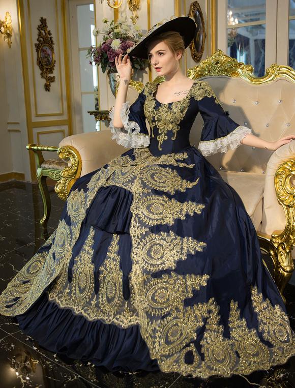 Traje Retro azul Bell bordado rococó manga encaje vestido de túnica ...