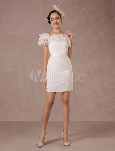 Kurze Hochzeitskleid Organza Off-the-Schulter Rüschen Mantel Mini ...