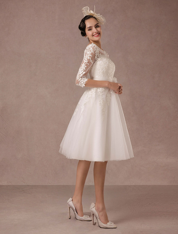 250090ca549 ... Short Wedding Dress Vintage Lace Applique Long Sleeves Tea length A line  Tulle Bridal Gown With ...