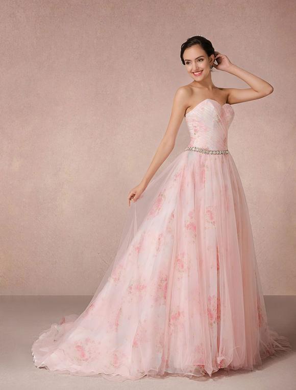 Rosa Kleid Blumen Hochzeit druckt Tüll Brautkleid trägerlos ...