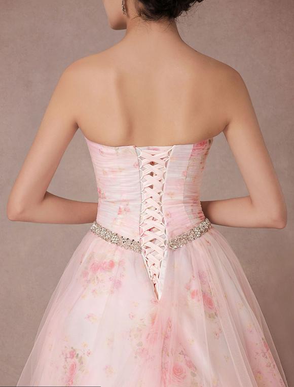 Rosa Kleid Blumen Hochzeit druckt Tüll Brautkleid ...