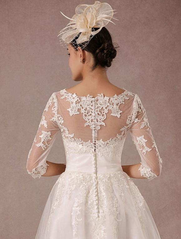 7e42c8c8dc3 ... Short Wedding Dress Vintage Lace Applique Long Sleeves Tea length A line  Tulle Bridal Gown With