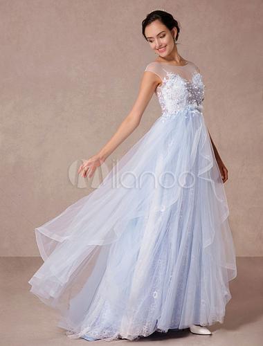Blaue Spitze Hochzeitskleid Gericht Zug Illusion Brautkleid Applique ...