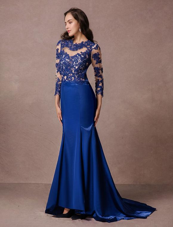 76d579f767d1 ... Pizzo abito da sera Party Dress maniche lunghe blu Satin sirena senza  schienale con coda a ...