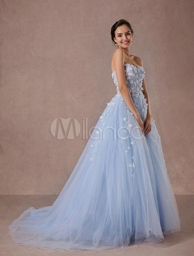 Boda azul vestido vestido encaje y Tul capilla tren vestido de novia ...