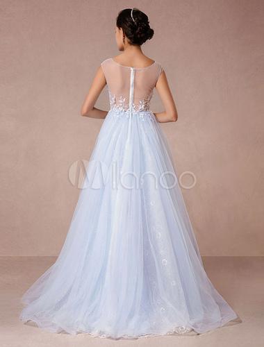 Blue Lace Wedding Dress Court Train Illusion Bridal Gown Applique 3D ...