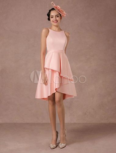 Vestido de novia de raso rosa satinado vintage vestidos de boda de ...