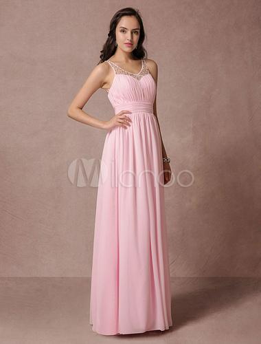Rosa Prom Kleid Chiffon Maxi, rückenfreies Abendkleid Spitze Perlen ...