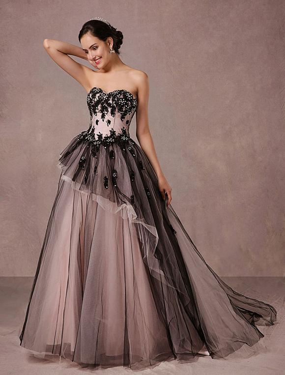 ... Matrimonio Nero Tulle cappella treno abito da sposa senza spalline  Sweetheart a-line Principessa di ... 80cafd6a252