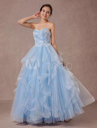 Blaue Hochzeitskleid Tüll Ball Kleid Spitze Applique trägerloser ...