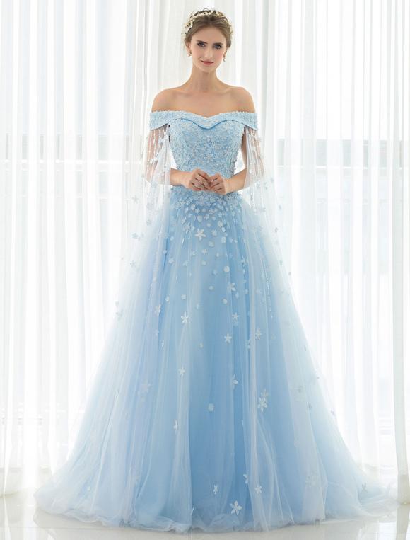 Blue Wedding Dress Lace Flower Applique Off-the-shoulder Tulle Cape ...