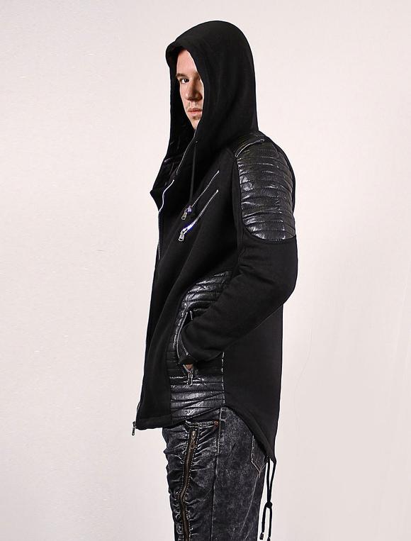 Zip Up Hoodie Men Black Jacket Leather Patch Zipper Asymmetric