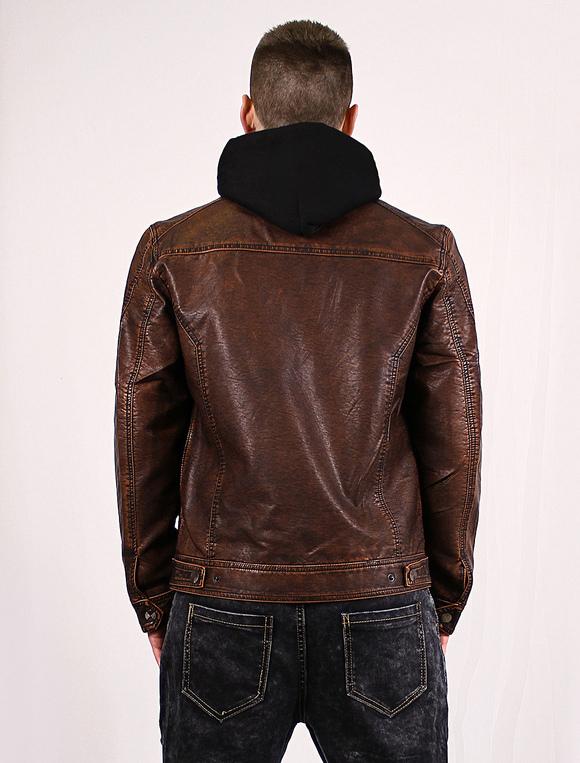 buy online 32aea 87bb6 Giacca pelle uomo marrone con cerniera