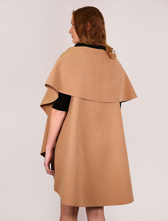 Armellos Damen Wintermantel Camel Wolle Lange Linie Weste Made In