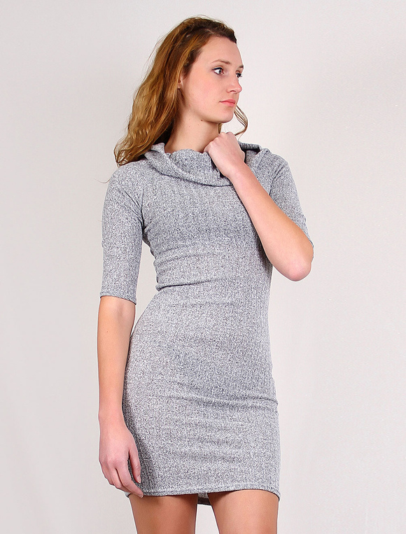 4fe2af0aca ... Knit Sweater Dress Women s Bodycon Dress Half Sleeves Midi Dress With  Turtleneck And Conversible Off-