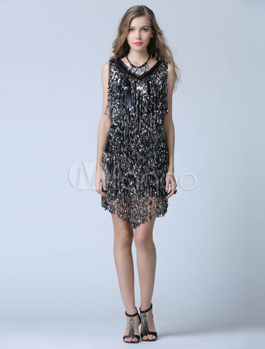 8d4846e7949 ... Black Sequin Cocktail Dress Sheath Short Fringe Party Dress Wedding  Guest Dress-No.2 ...