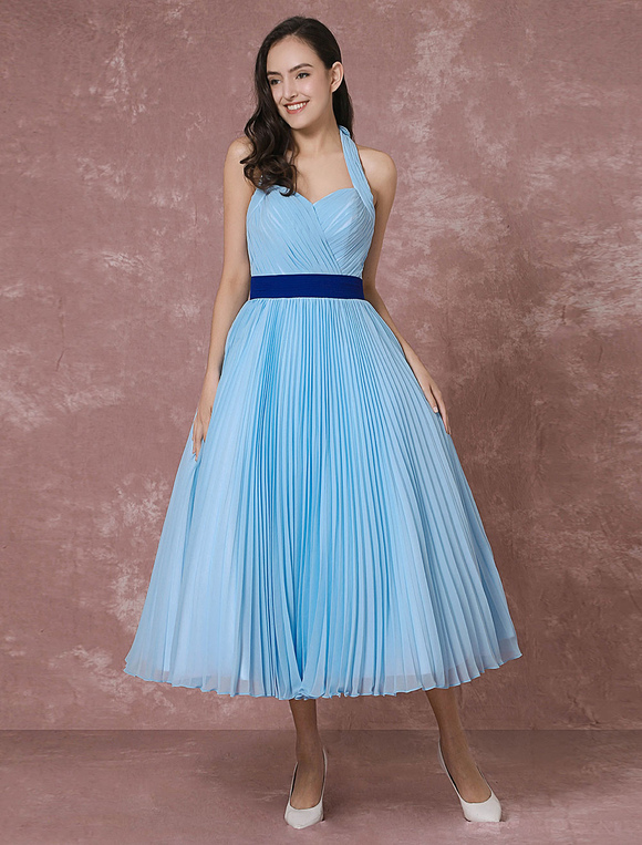 Vintage Wedding Dress Blue Short Bridal Gown Halter Chiffon Pleated ...