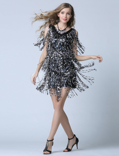 cb2d96b6fdb ... Black Sequin Cocktail Dress Sheath Short Fringe Party Dress Wedding  Guest Dress-No.3 ...