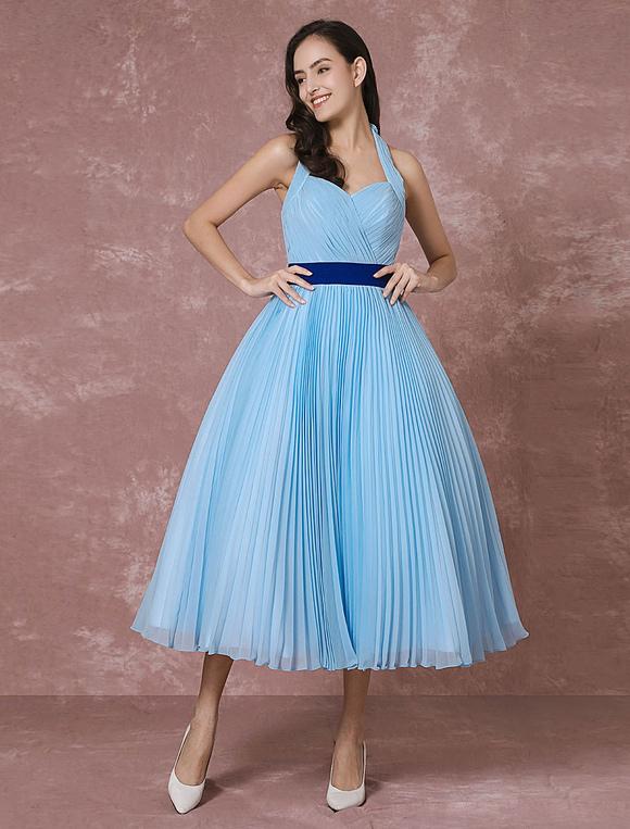 Vintage Wedding Dress Blue Short Bridal Gown Halter Chiffon Pleated ...