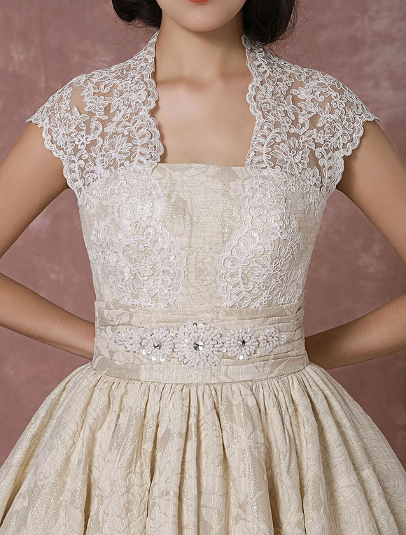 670191b703c7 ... Short Wedding Dress Lace Champagne Vintage Bridal Dress Ball Gown  Beading Backless Tea-length Bridal ...