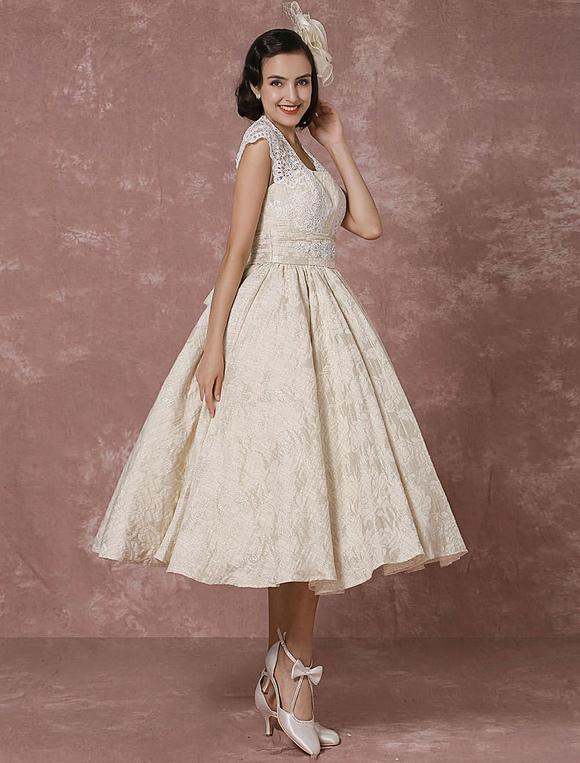 Kurzes Hochzeitskleid Spitze Champagne Vintage Brautkleid Ball Kleid ...