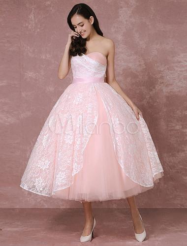Erröten Kleid kurze Spitze Brautkleid rosa Ball Kleid Tüll ...