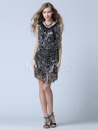 39a40ee61 Vestido de festa Lantejoula preto Cocktail bainha franja curta Vestidos de  Convidados para Casamento-No ...