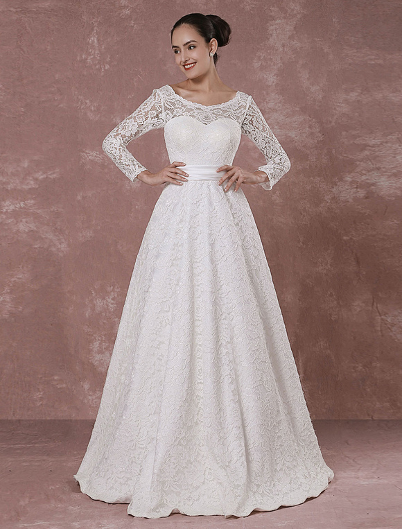 Lace Wedding Dress rückenfrei lange Ärmel Brautkleid a-Linie ...