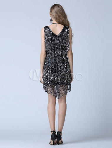 29caaeae8a6 ... Black Sequin Cocktail Dress Sheath Short Fringe Party Dress Wedding  Guest Dress-No.7. 12