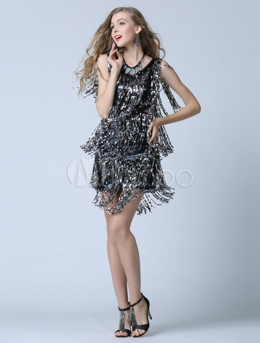 26f5960e06e ... Black Sequin Cocktail Dress Sheath Short Fringe Party Dress Wedding  Guest Dress-No.5 ...