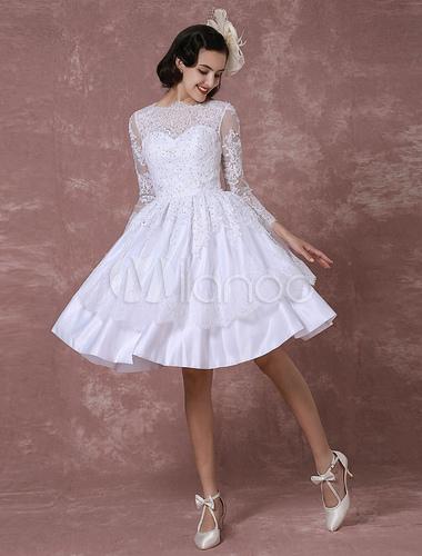 Kurzes Hochzeitskleid Vintage Brautkleid Spitze Applique Lange Armel