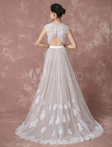 Crop Top Spitze Hochzeitskleid hoch niedrig Tüll Brautkleid ...