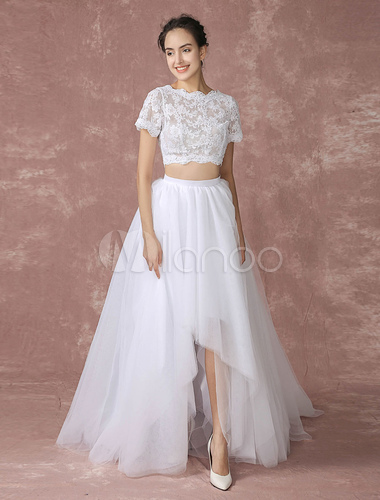 123f13d441af69 ... Two Piece Prom Dress 2019 Long White Crop Top Lace Wedding Dress High  Low Tulle Back ...