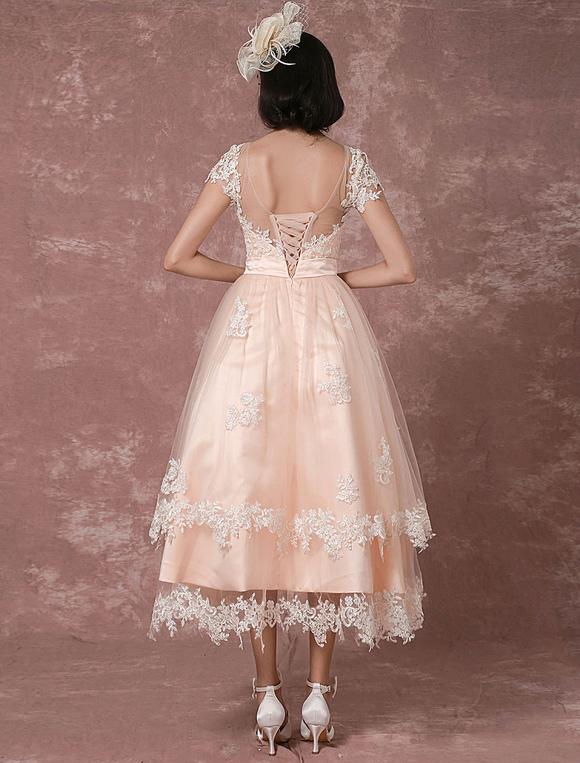 Boda vestido corto vestido de novia Vintage ilusión sin respaldo ...