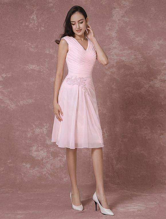 ... Rosa in Chiffon damigella d onore vestito corto con scollo a v Abito da  Cocktail pizzo ... 0c7204f4359
