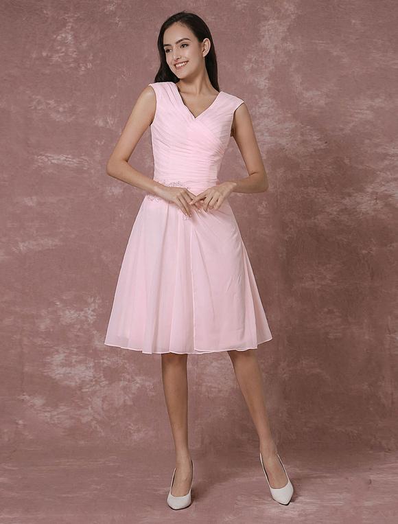 25ee1f303174 ... Rosa in Chiffon damigella d onore vestito corto con scollo a v Abito da  Cocktail pizzo ...