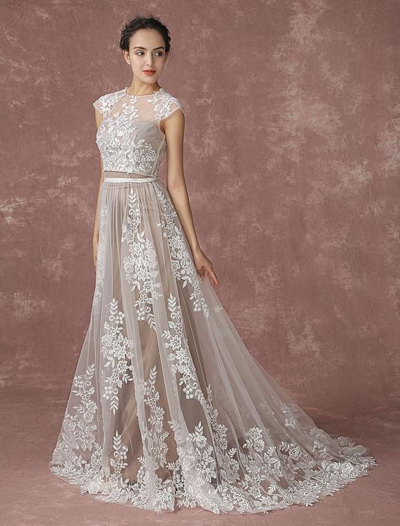 910884089 ... Vestido de novia de dos piezas de línea A sin tirantes Botones Con cola  de encaje ...