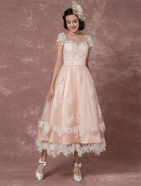 Vintage Brautkleid Ruckenfrei Hochzeitskleid Kurz Mit Illusion