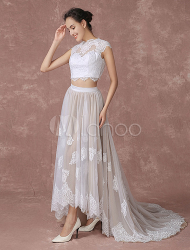 Crop Top Lace Wedding Dress High Low Tulle Bridal Gown Back Design ...