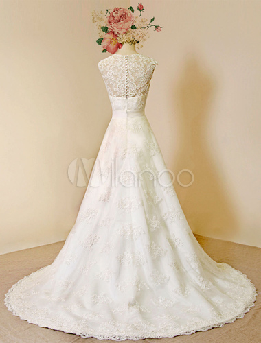 Two-way Lace Wedding Dress Cathedral Train A-line Luxury Bridal Gown ...